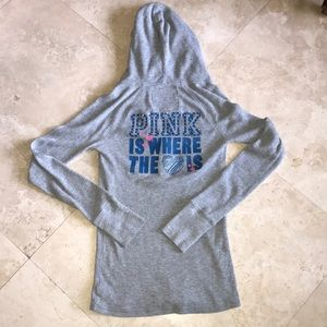 PINK HOODED HENLEY